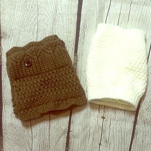 Set of 2 pairs footless boot socks/leg warmers